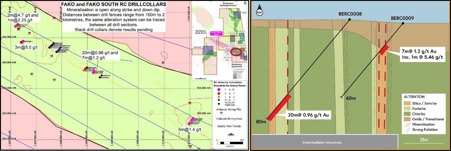 Figure 5: Fako Drill plan and type section showing interpreted zoned alteration system and mineralisation.