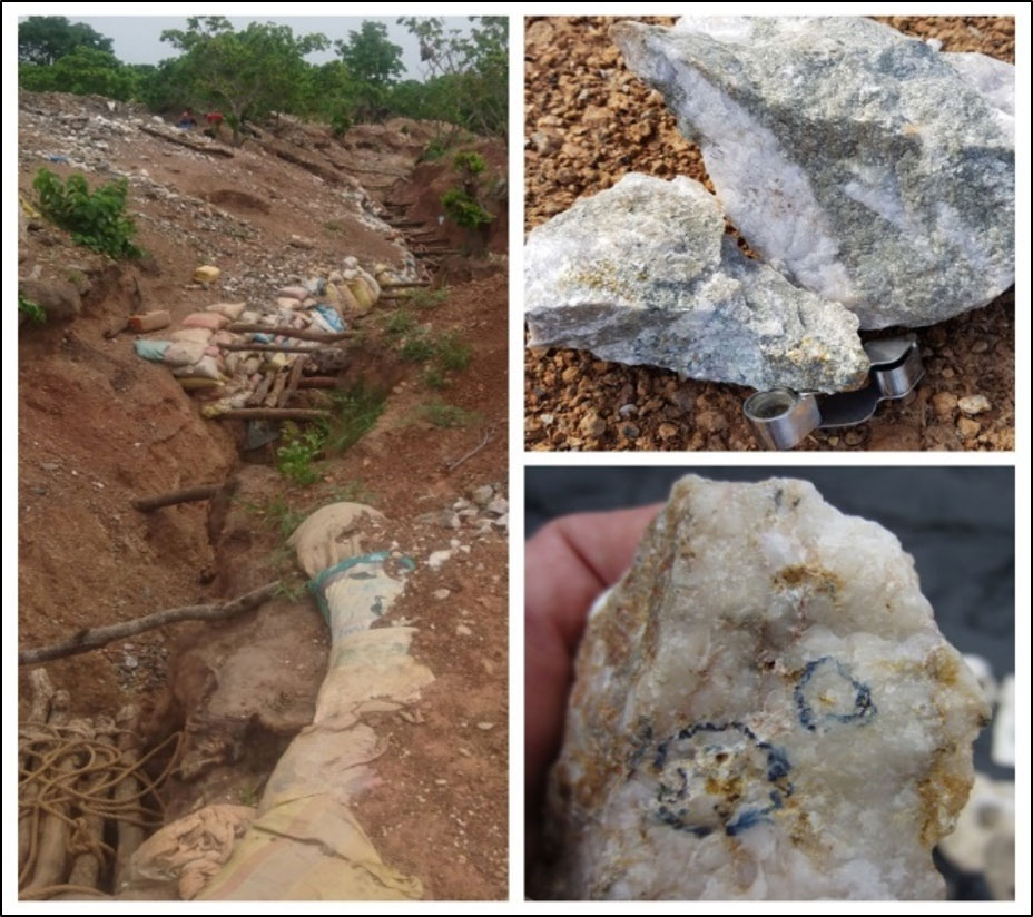 Figure 6: Casino Artisanal Mining Pit, quartz with sericite alteration and free gold associated with the 589 gram per tonne rock chip sample.